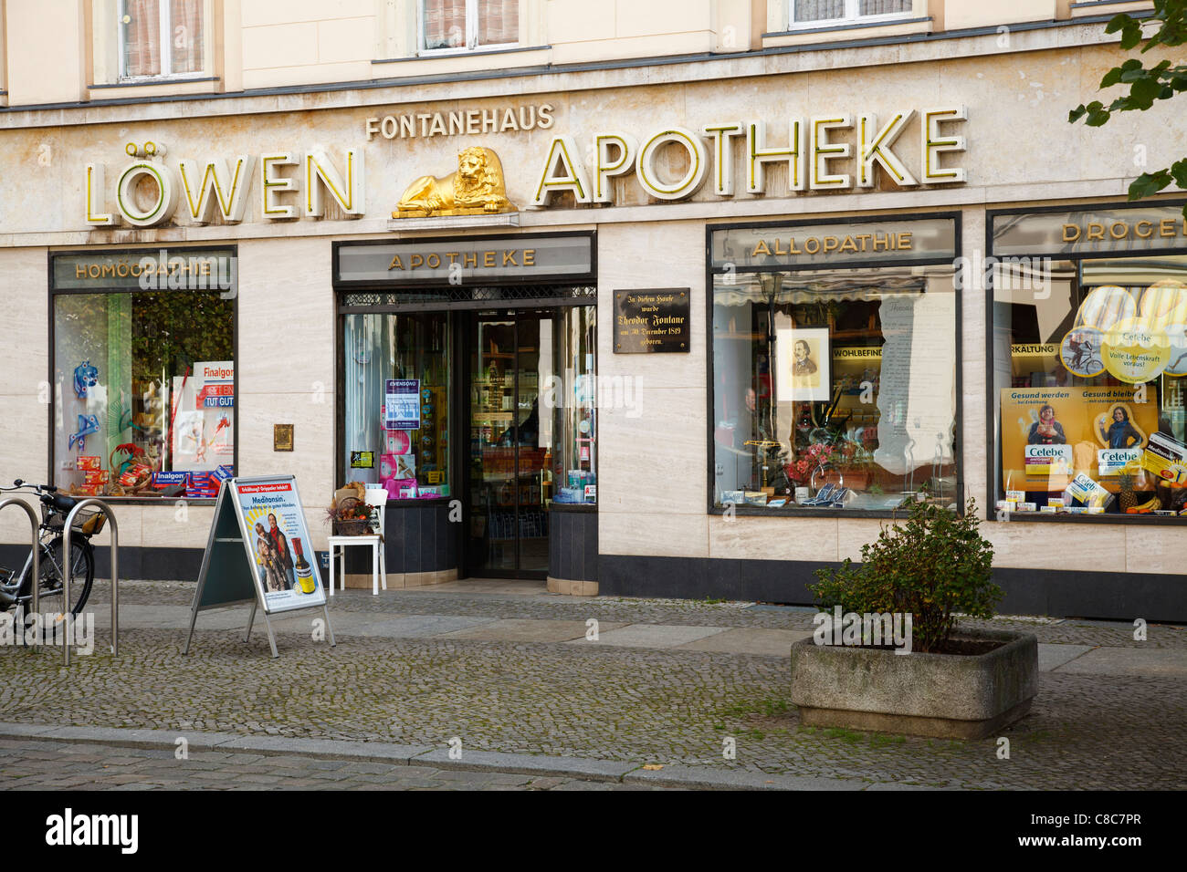 Löwen Apotheke birth place of writer Theodor Fontane, Neuruppin, Brandenburg, Germany Stock Photo