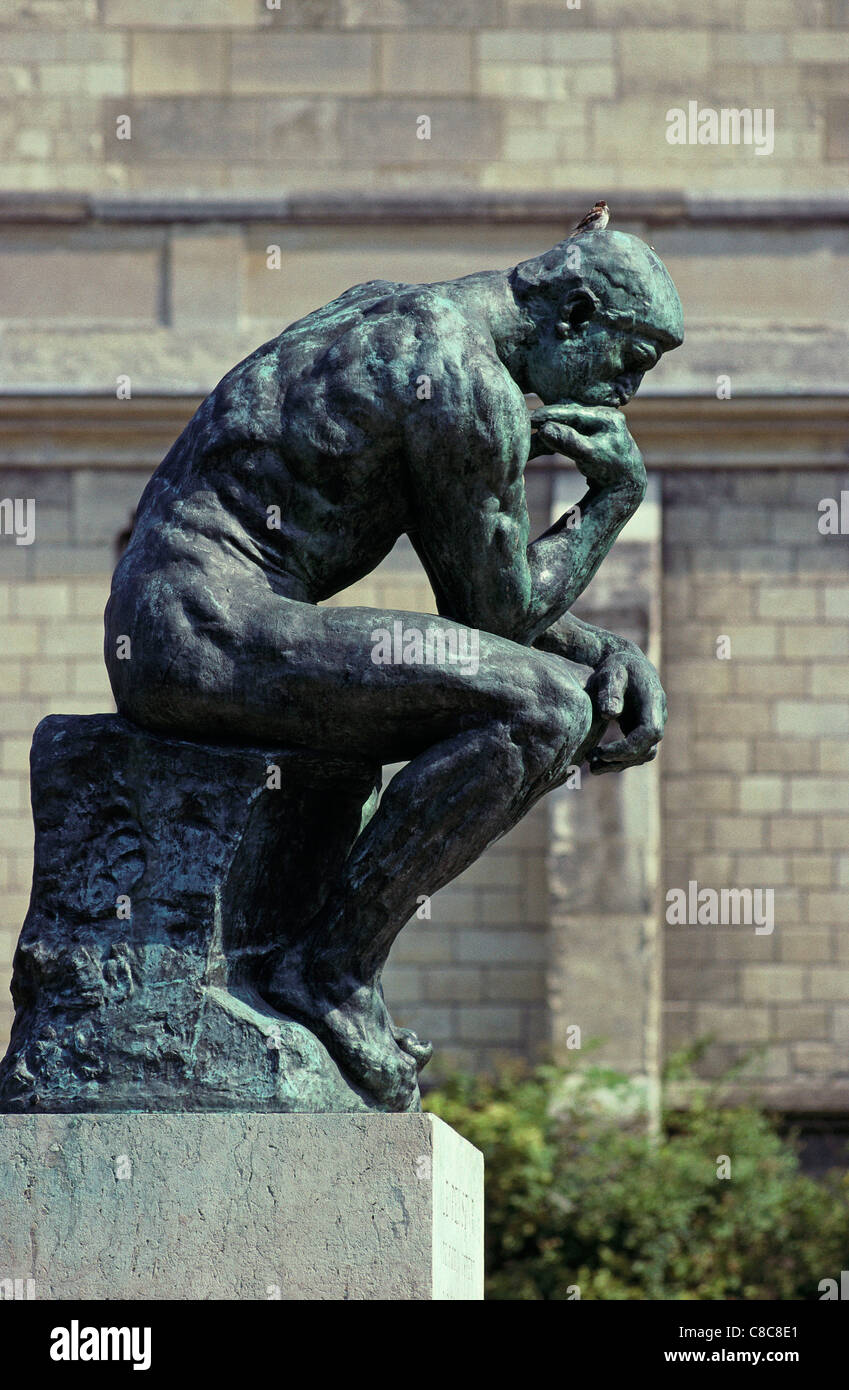 Paris. France. The Thinker, sculpture by Rodin in the garden of Musee Rodin. Rodin Museum. 7th Arrondissement. - Stock Image