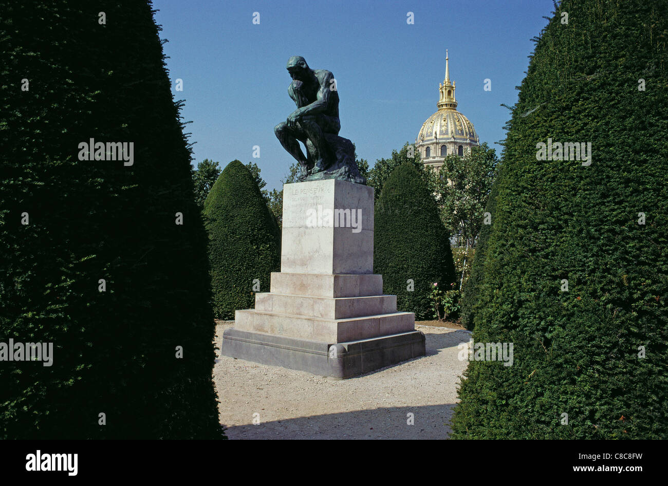 Paris. France. The Thinker, sculpture by Rodin in the garden of Musee Rodin, Rodin Museum, 7th Arrondissement. - Stock Image