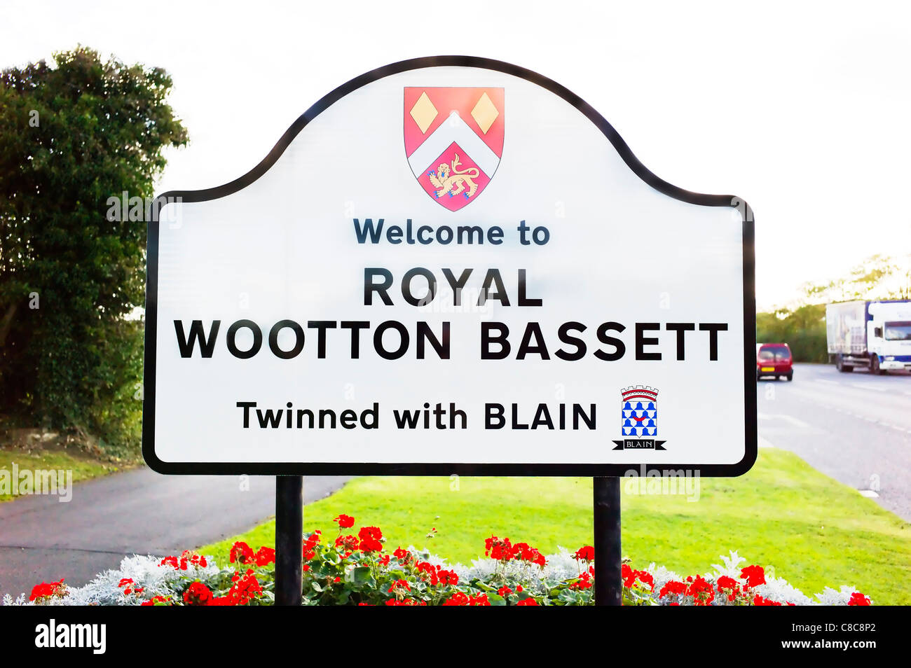 Sign for Royal Wootton Bassett inaugurated in October 2011 in Wiltshire UK Stock Photo