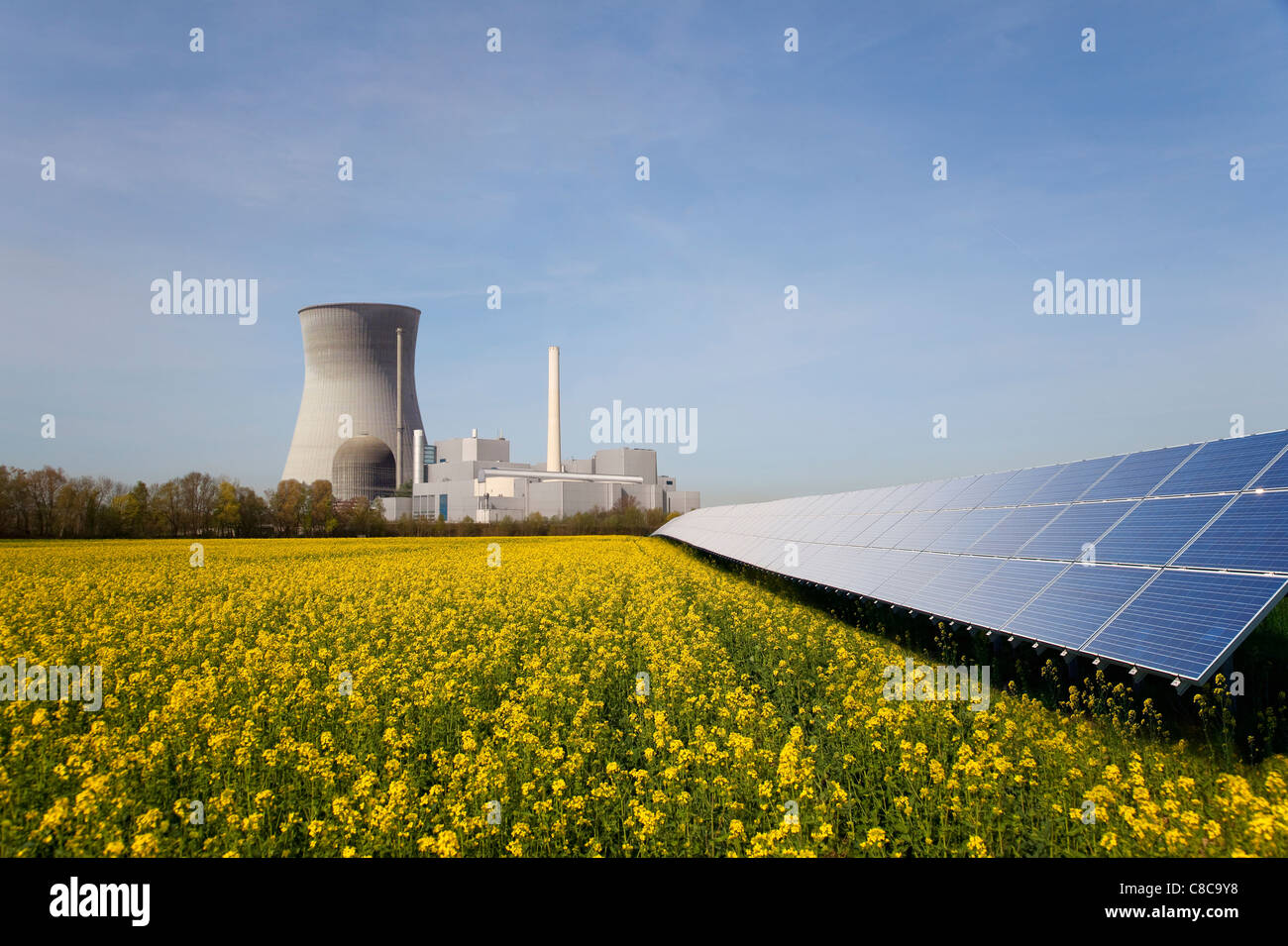 Solar plant and atomic power station - Stock Image