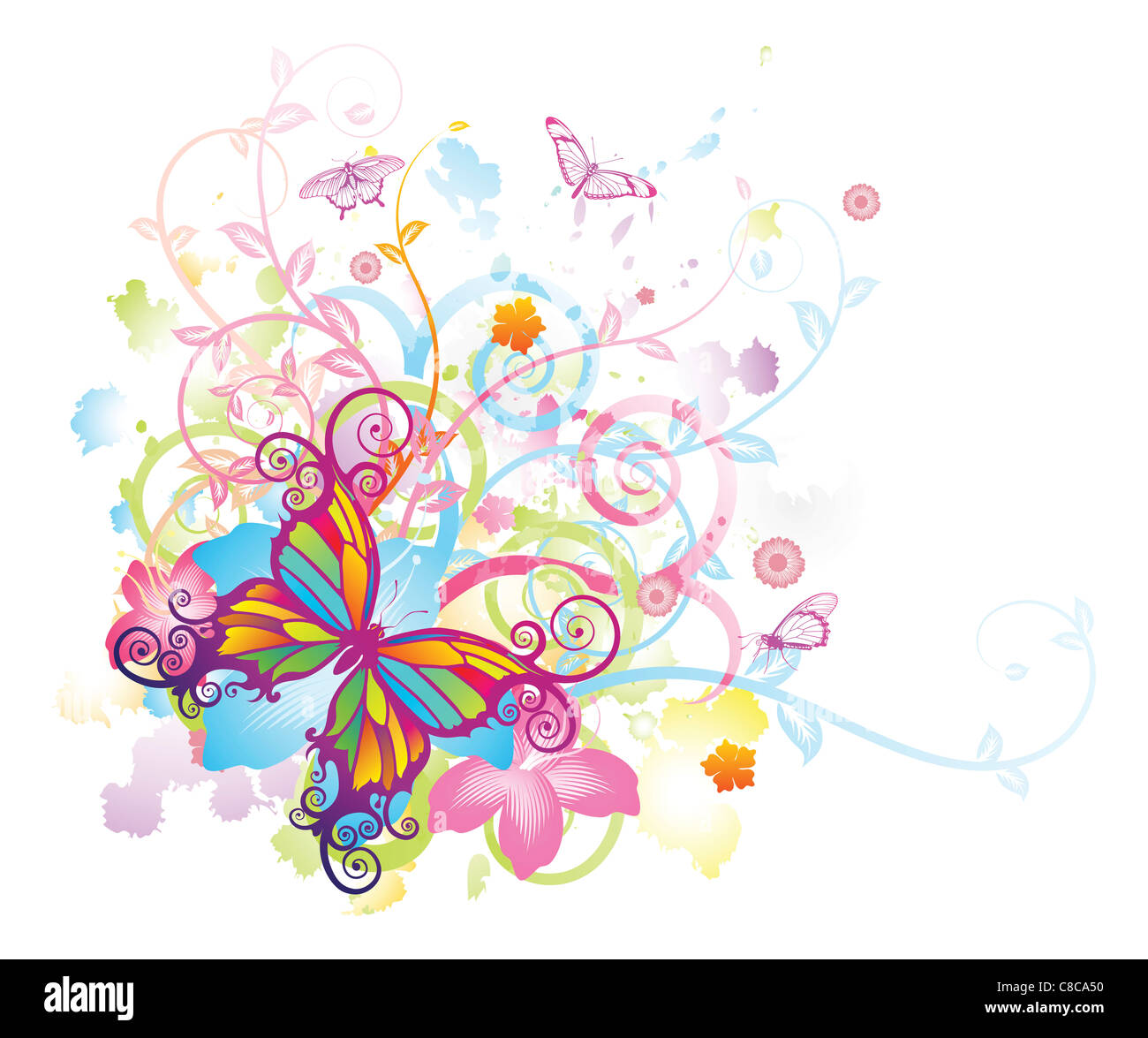 Abstract colourful butterfly background with stylised floral elements, patterns and splashes - Stock Image
