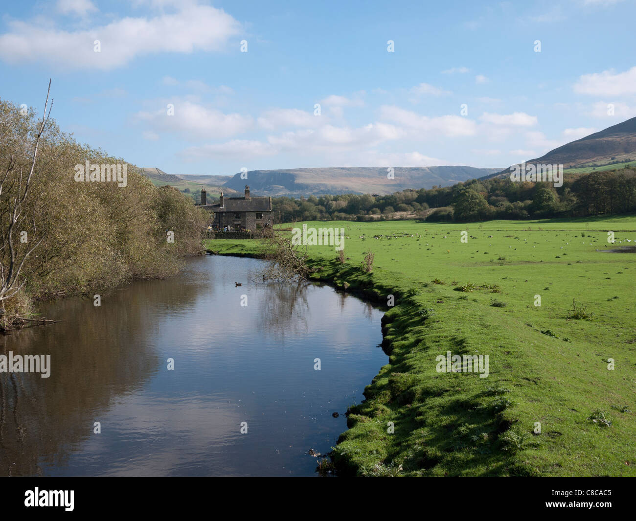 View towards Greenfield and Moors. Oldham, Lancashire, England, UK. - Stock Image