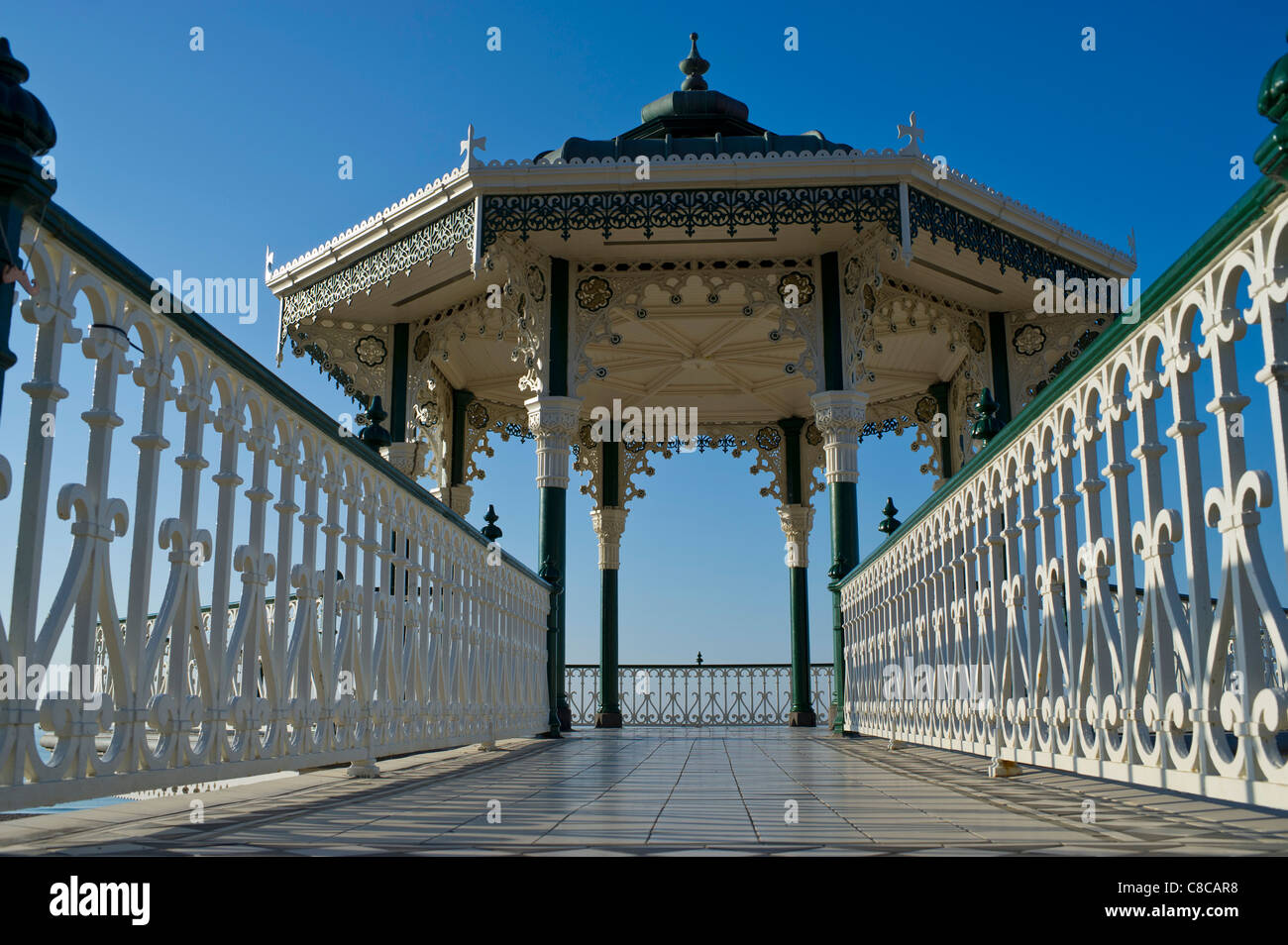 Brighton Victorian bandstand on Brighton seafront built in 1884 and a local landmark and even wedding venue - Stock Image