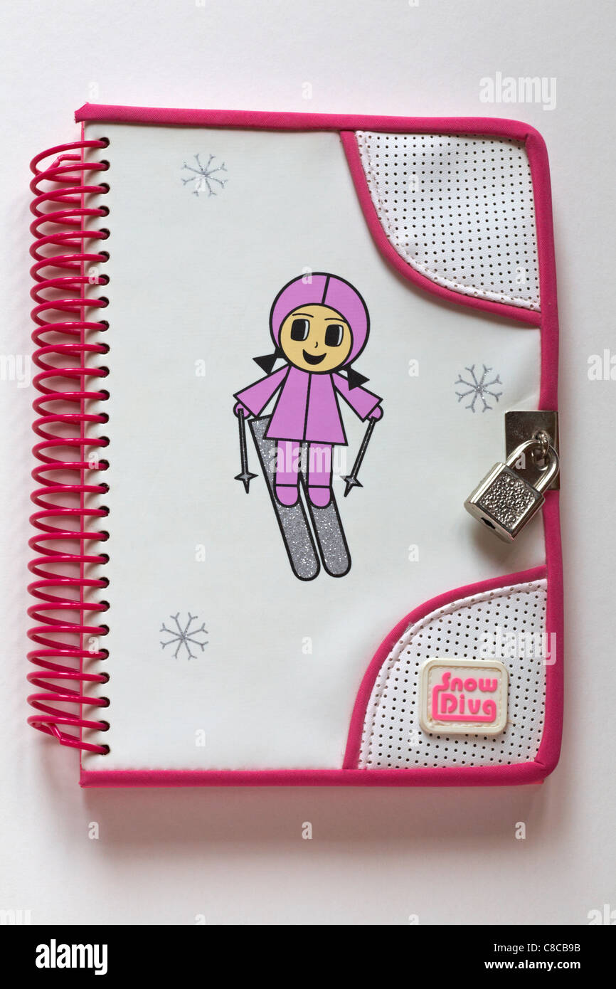 Snow Diva childs secret diary padlocked isolated on white background - Stock Image