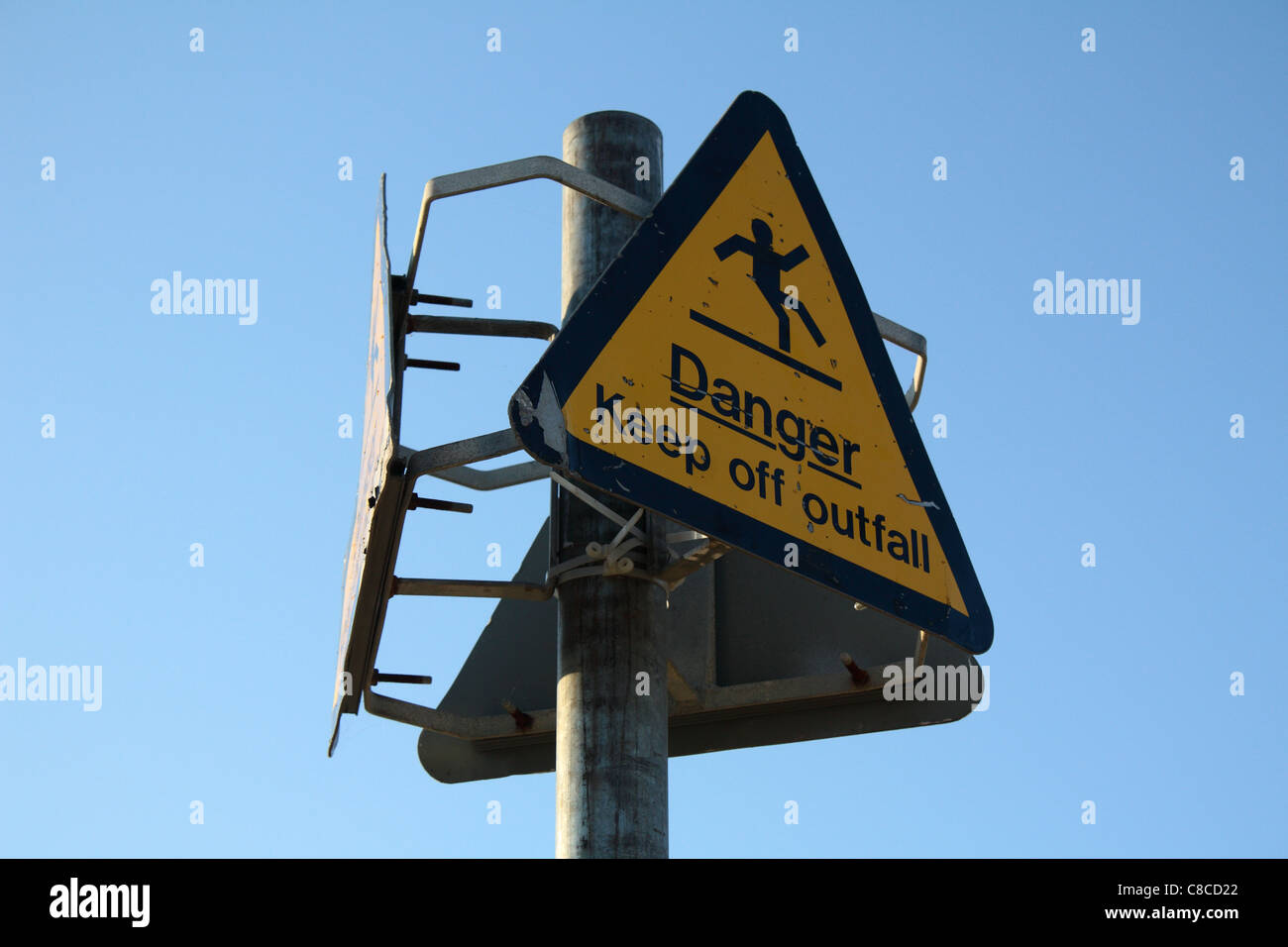 Danger sign at Ryde beach - Stock Image