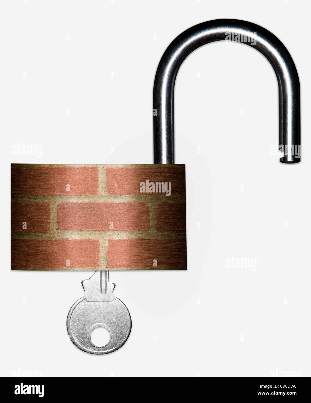 Unlocked padlock with a brick wall superimposed on the body, signifying Home Security Issues. - Stock Image