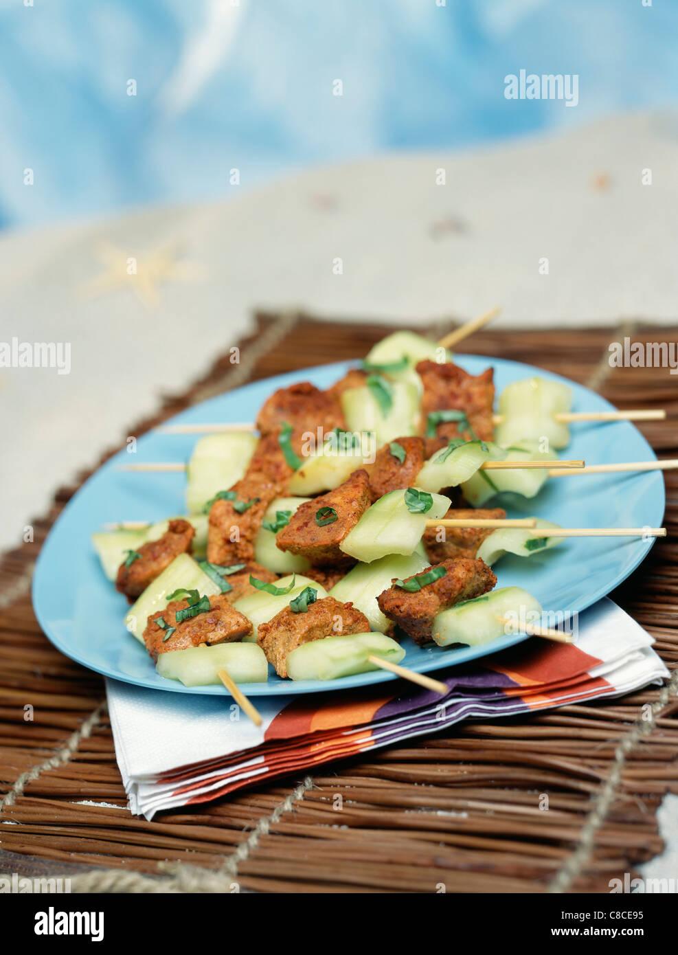 Marinated Tandoori chicken and cucumber brochettes Stock Photo