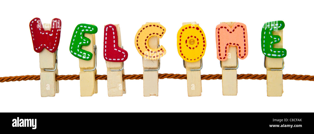 Welcome word clip on the rope - Stock Image