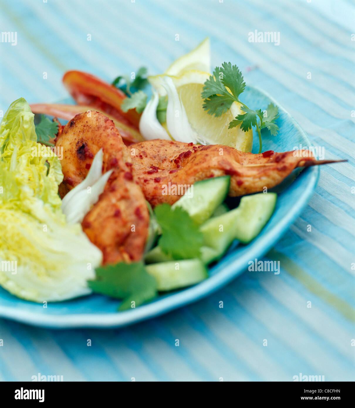 Tandoori chicken brochettes Stock Photo