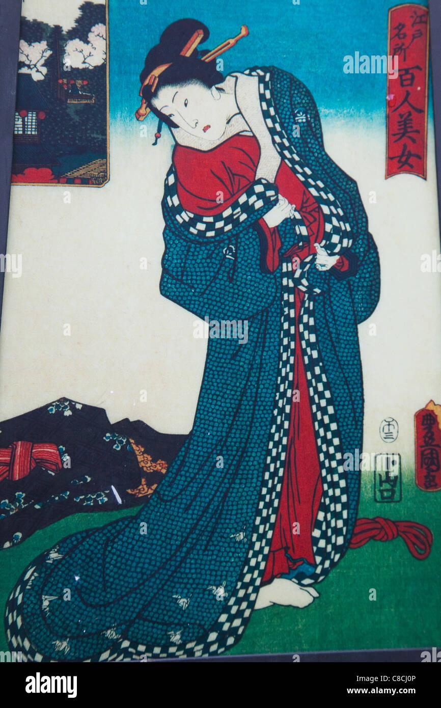 Japan, Tokyo, Ukiyo-e Print depicting Japanese Woman - Stock Image