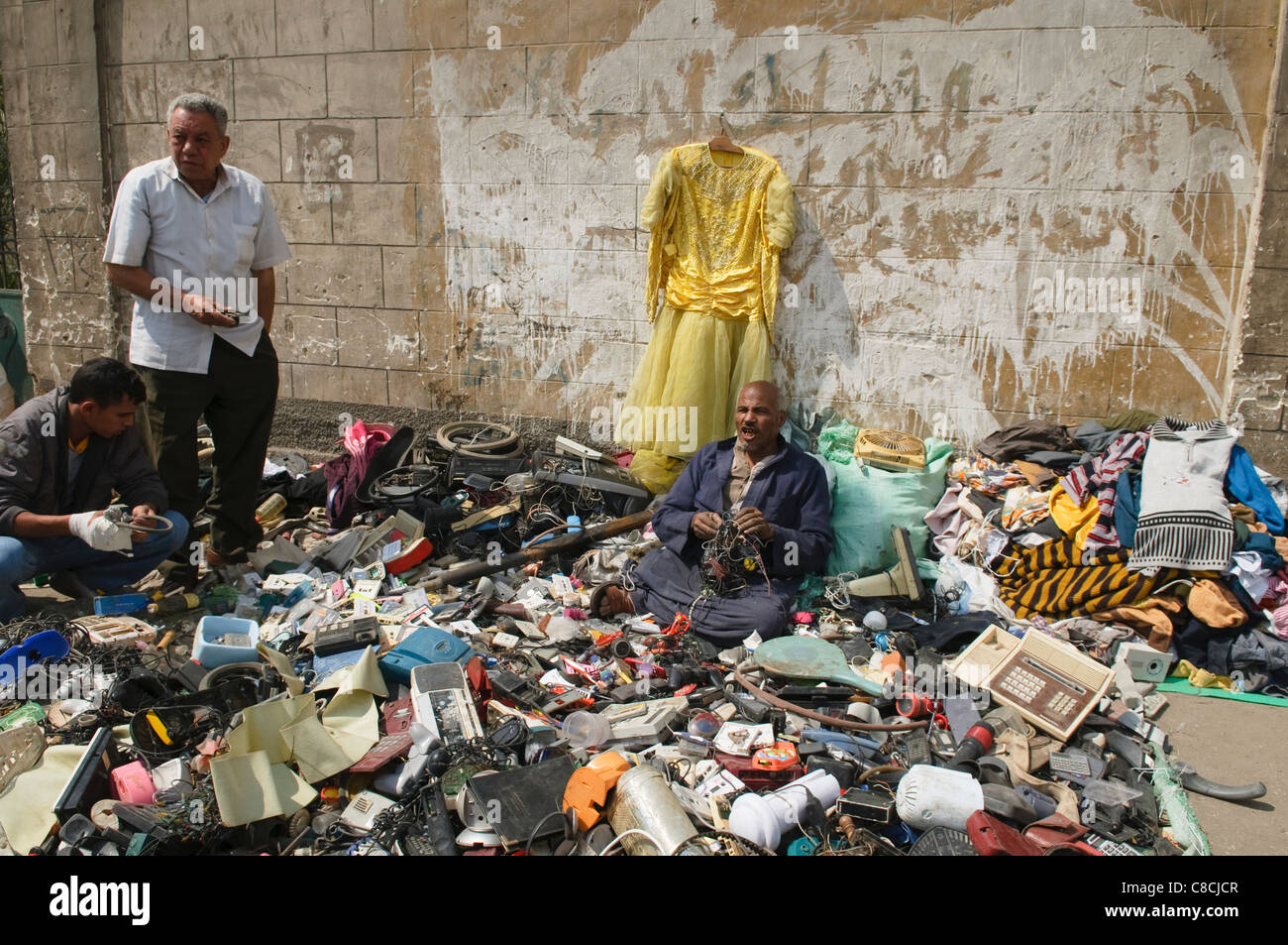 junk for sale at the Souk al Goma Friday Market in Cairo Egypt - Stock Image