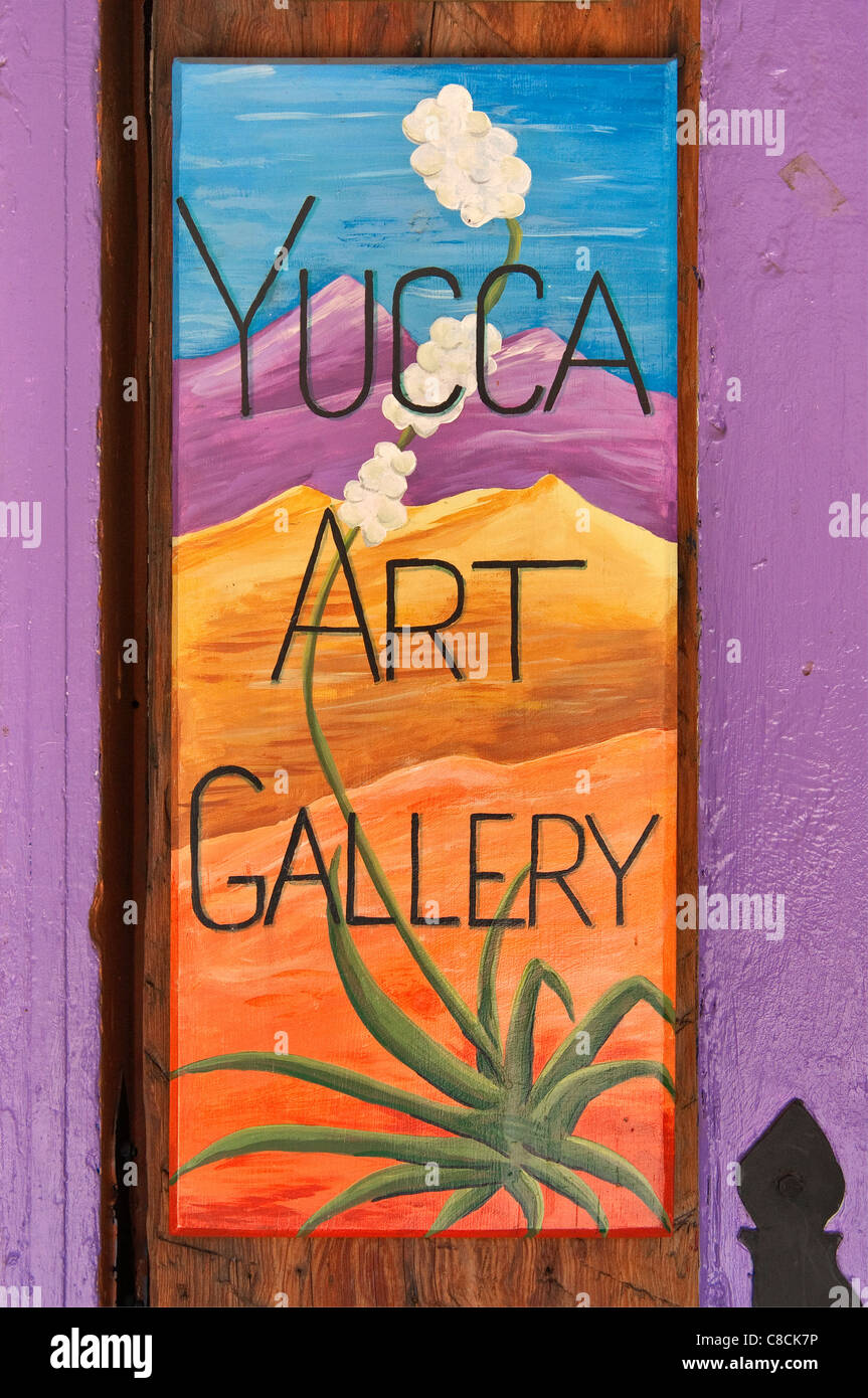 Sign at art gallery in Old Town, Albuquerque, New Mexico, USA - Stock Image