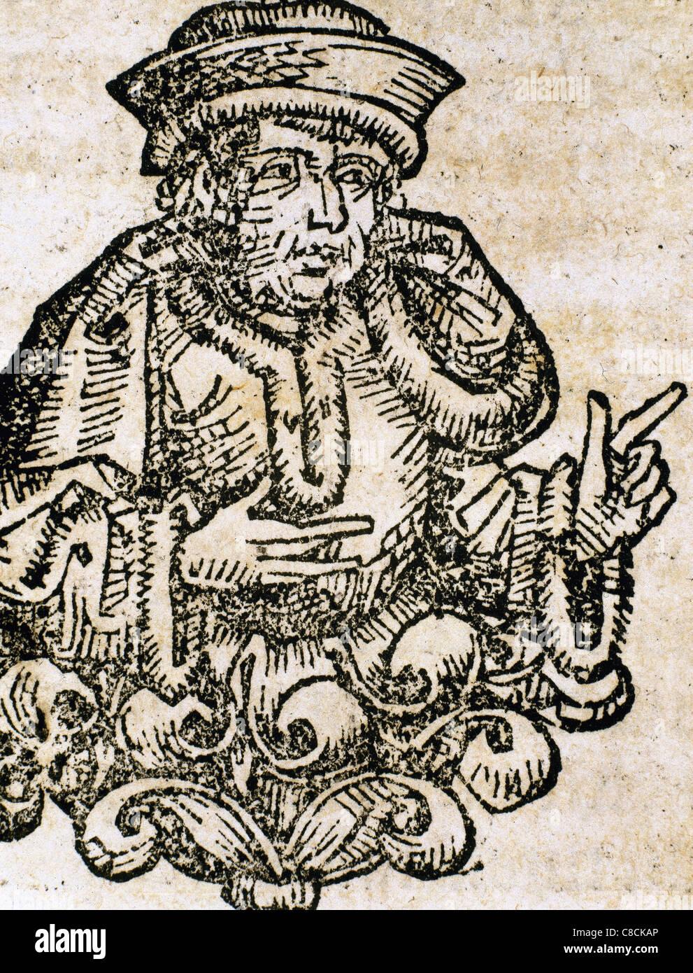 Demosthenes (384-322). Greek orator and statesman. Engraving. - Stock Image