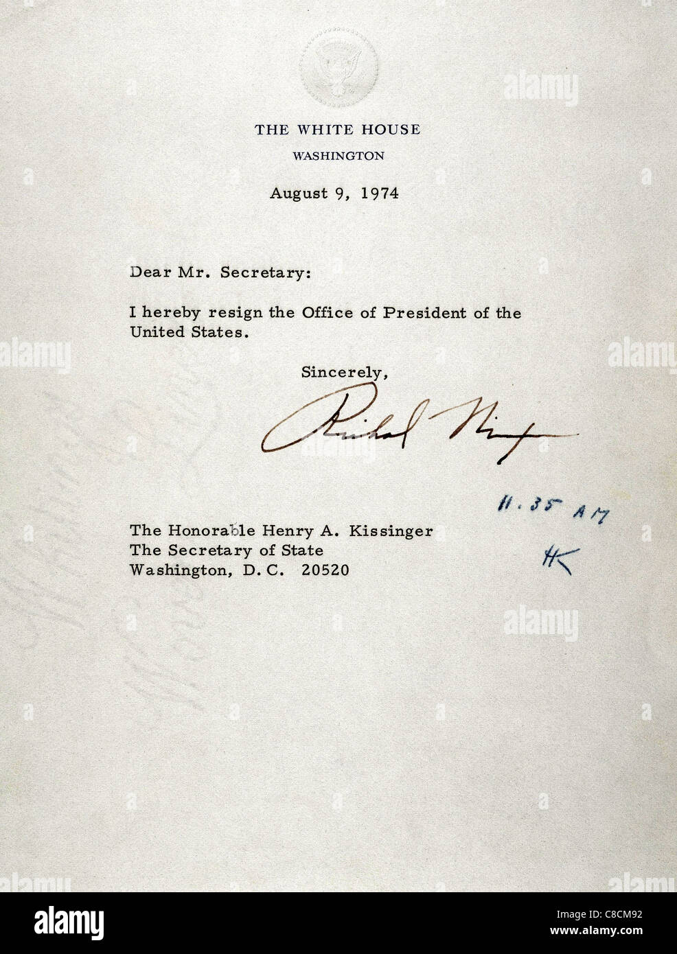 Richard Nixon 1913 1994 37th President Of Usa Resignation Stock