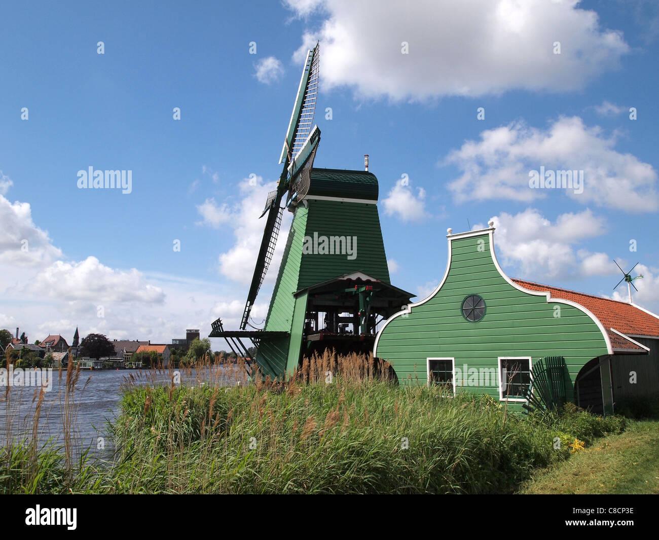 dutch windmill at Zaanse Schans, Noord Holland, the Netherlands - Stock Image