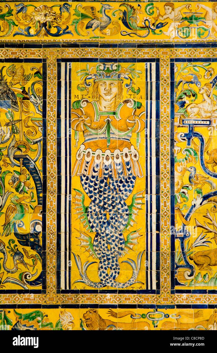 Wall decoration picture in ceramic tiles. Sala de Tapises (tapestry ...
