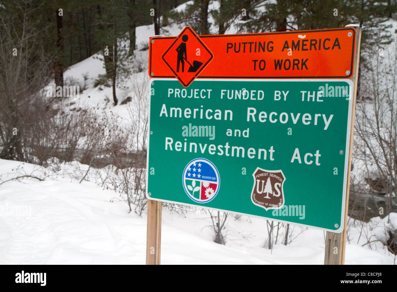 Road sign for the American Recovery and Reinvestment Act at Idaho City, Idaho, USA. - Stock Image