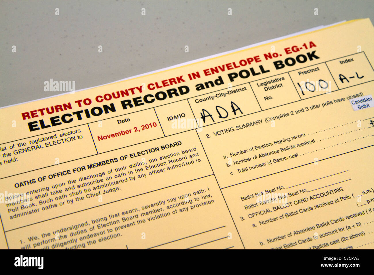 Election Record and Poll Book at a polling place in Boise, Idaho, USA. - Stock Image