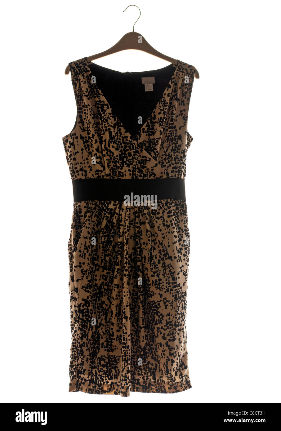 Womens womens ladies Black and Tan Belted Sleeveless Dress On A Coat Hanger - Stock Image