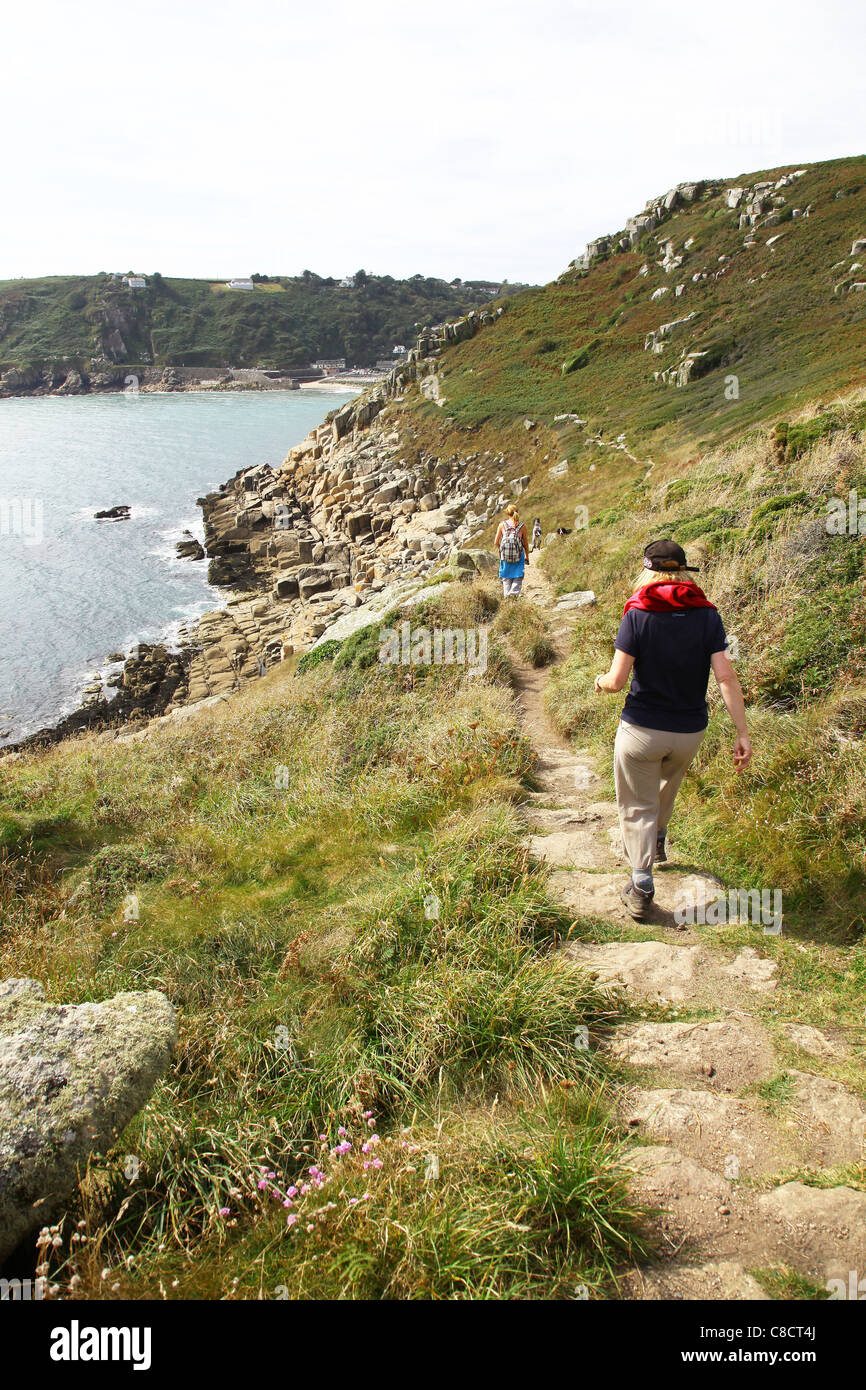 Looking towards Lamorna Cove from Carn-du from the South West Coast long distance footpath, Cornwall, West Country, - Stock Image