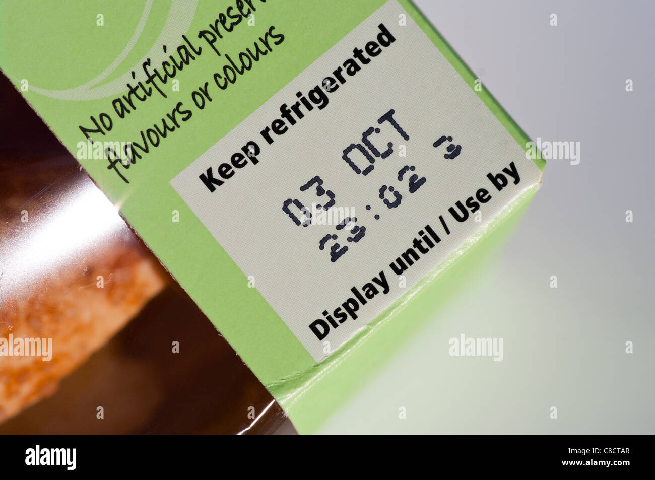 Keep Refrigerated Display Until Use By Date Food Labeling Label UK - Stock Image