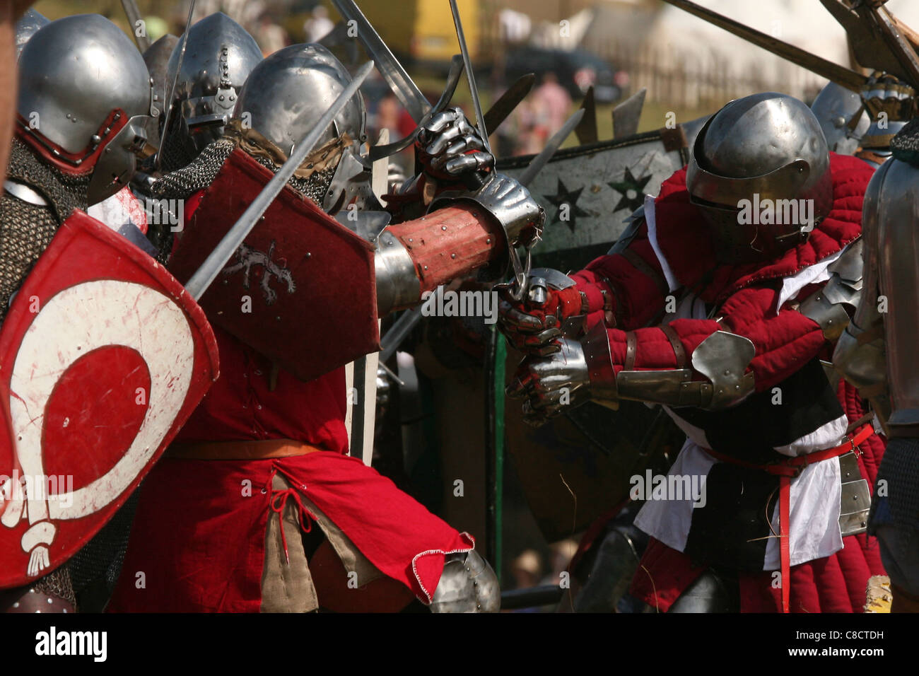Re-enactment of the Battle of Grunwald (1410) in Northern Poland. Stock Photo