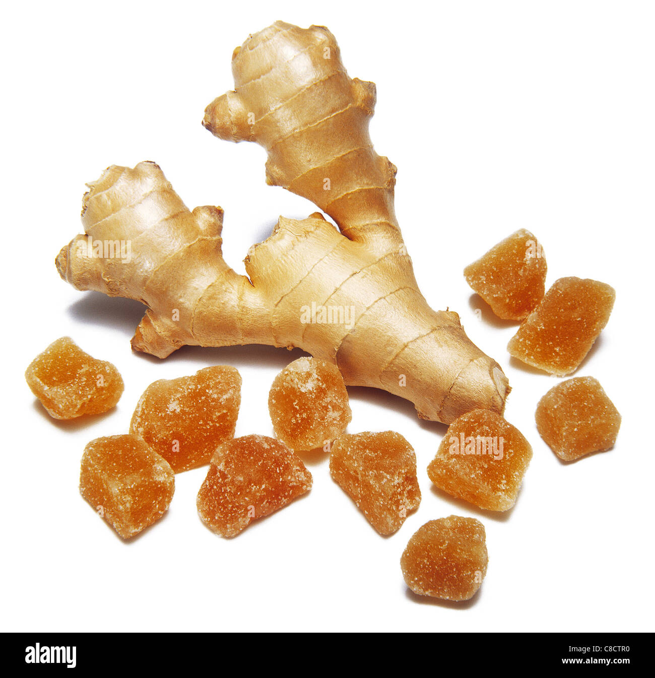 Preserved ginger with root ginger - Stock Image