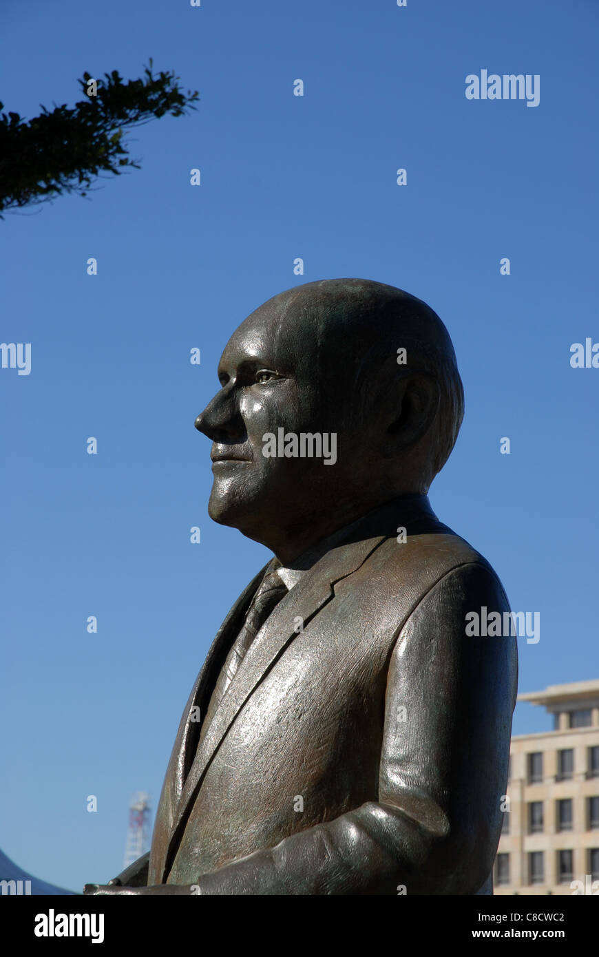 Statue of FW de Klerk, Nobel Square, V&A Waterfront, Cape Town, Western Cape, South Africa - Stock Image
