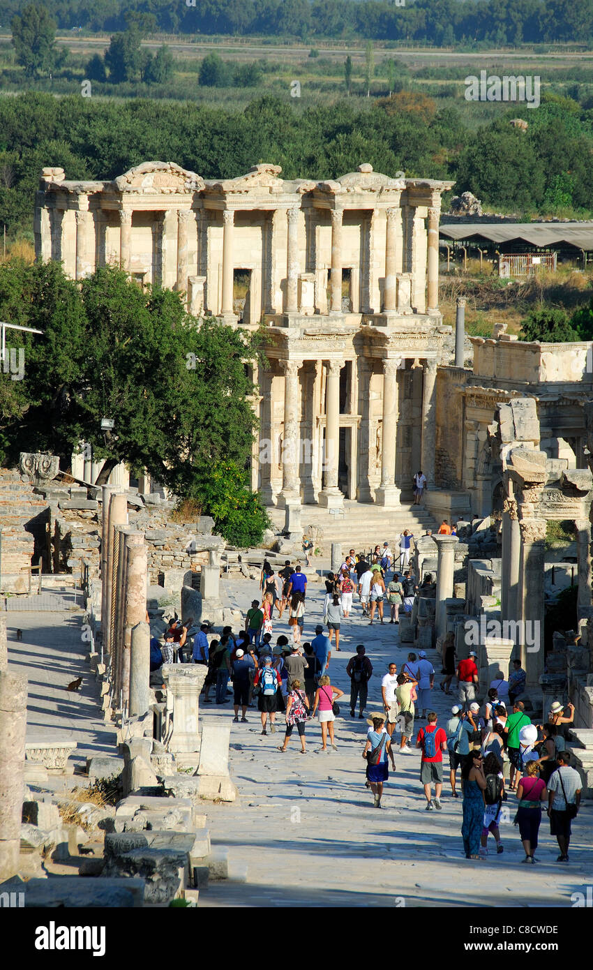 EPHESUS (EFES), TURKEY. A view down Curetes Way to the Library of Celsus Polemaeanus. 2011. Stock Photo