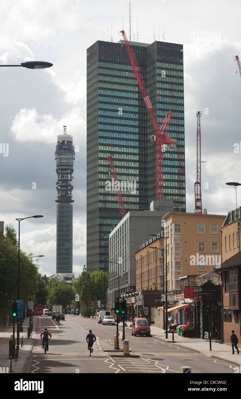 Bt Tower Euston Tower seen from Hampstead Road - Stock Image