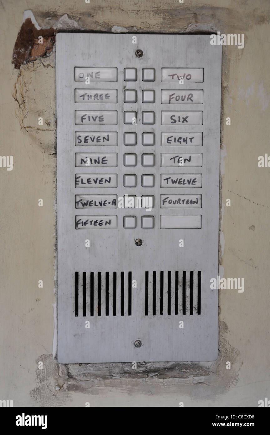 Entry buzzer system in rundown multi occupancy property. - Stock Image