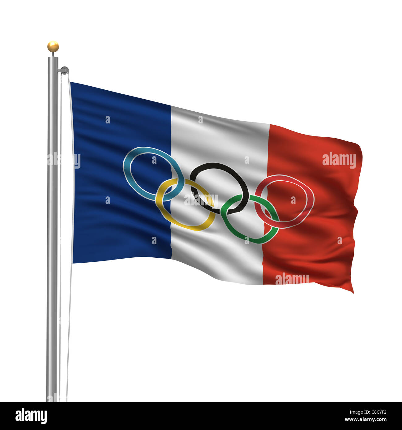Flag of France with Olympic rings - Stock Image
