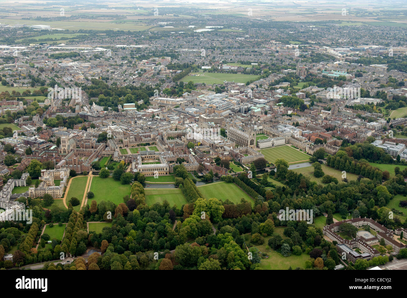 The City of Cambridge England from the air - Stock Image