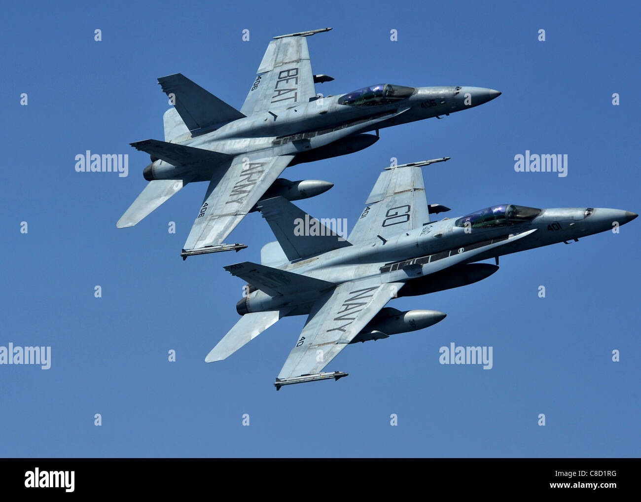 Two F/A-18C Hornets assigned to the Golden Dragons of Strike Fighter Squadron (VFA) 192 - Stock Image