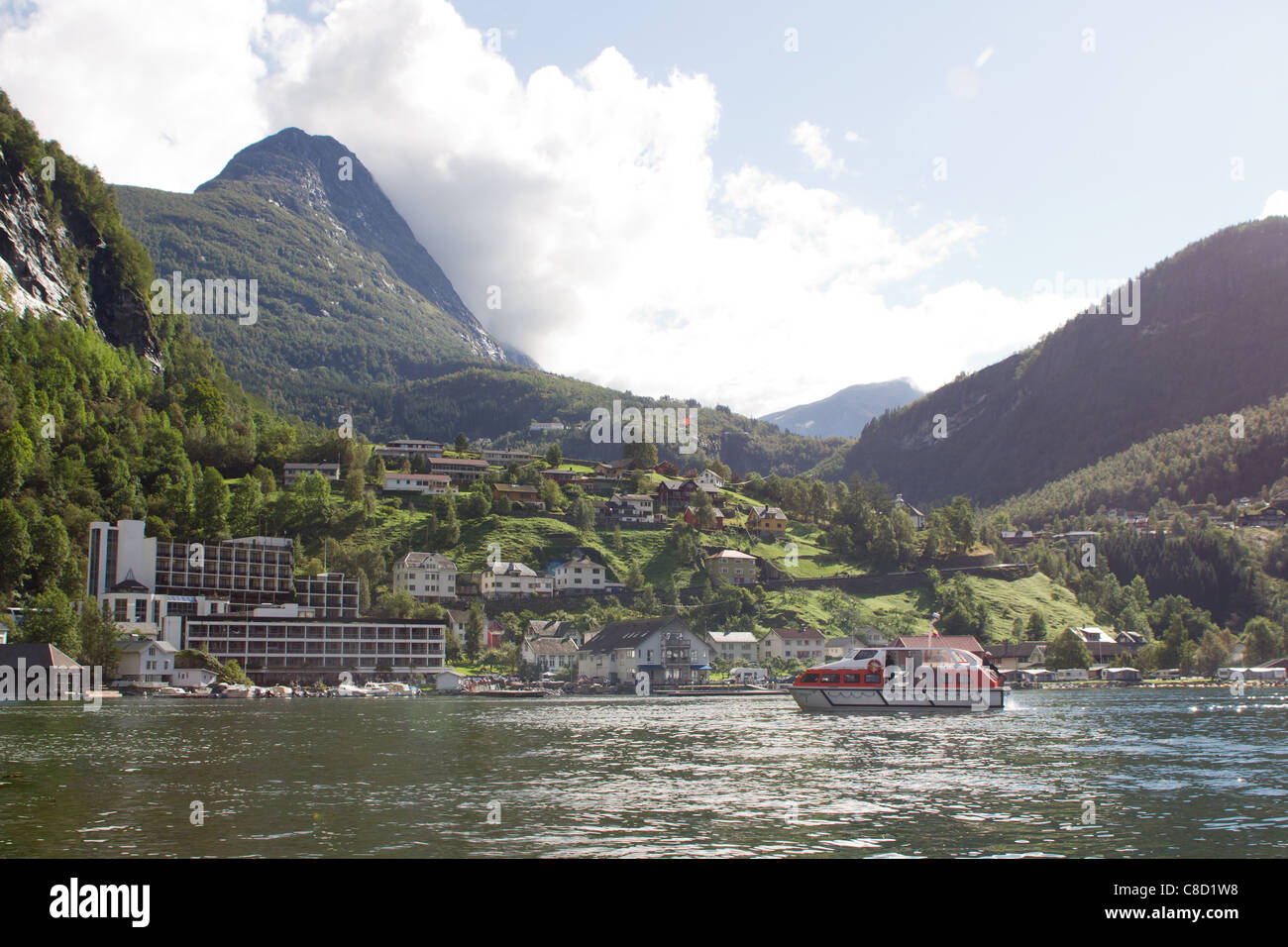 Geiranger, Norway, small town in the end of the fjord - Stock Image