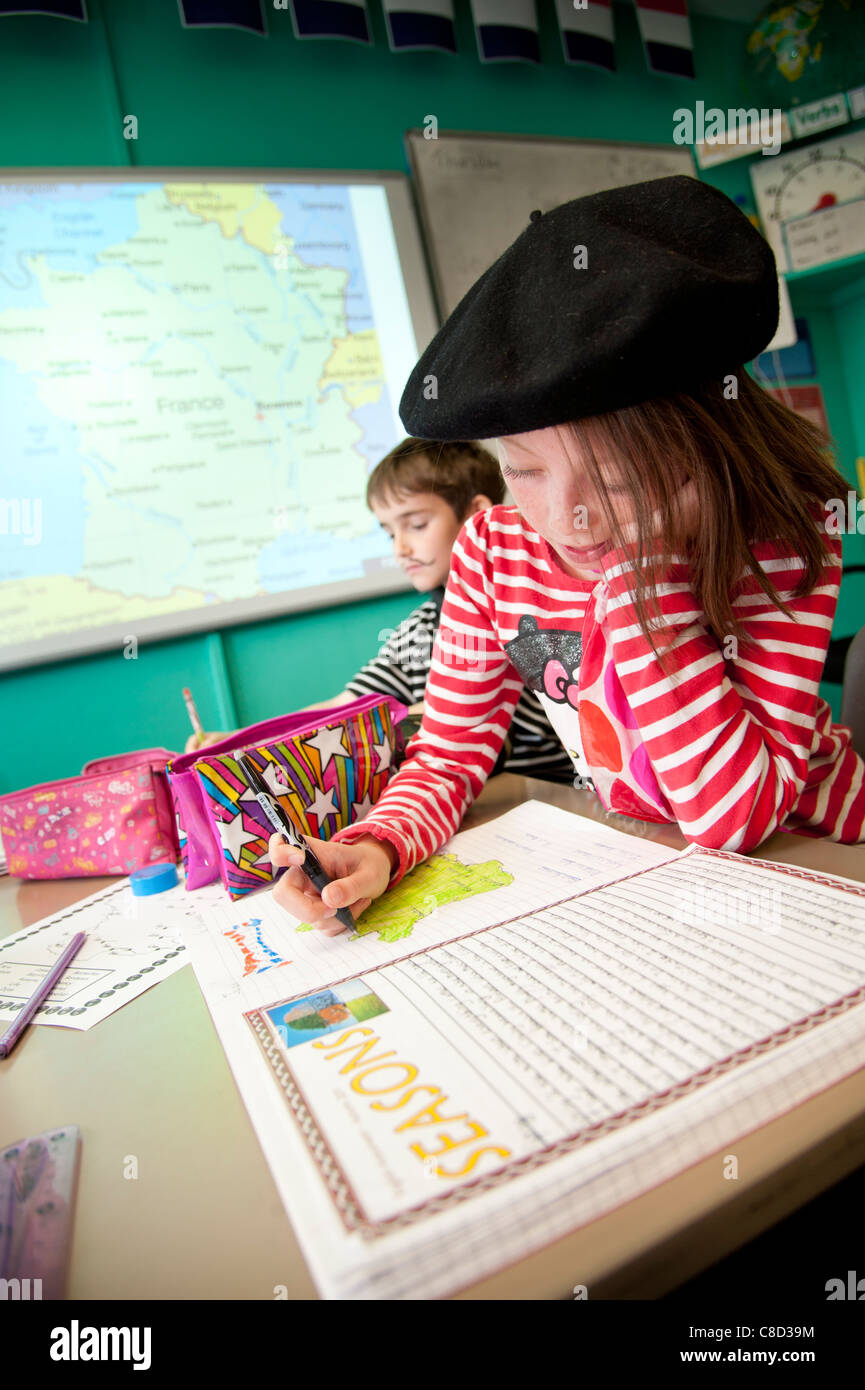 International Day -  geography class at a primary school Wales UK, learning about France and the French - Stock Image
