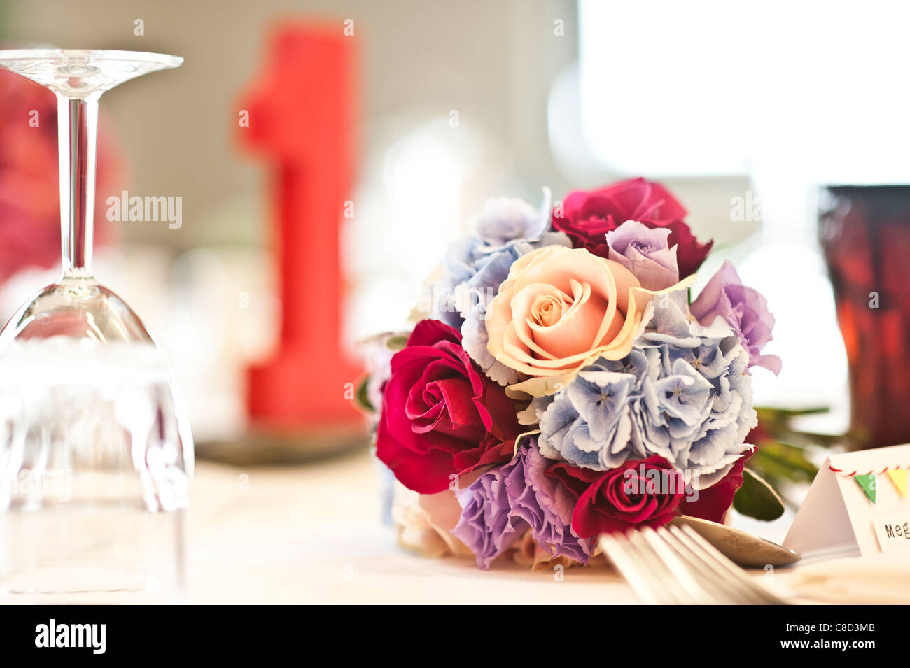 a bride's wedding bouquet of flowers - Stock Image