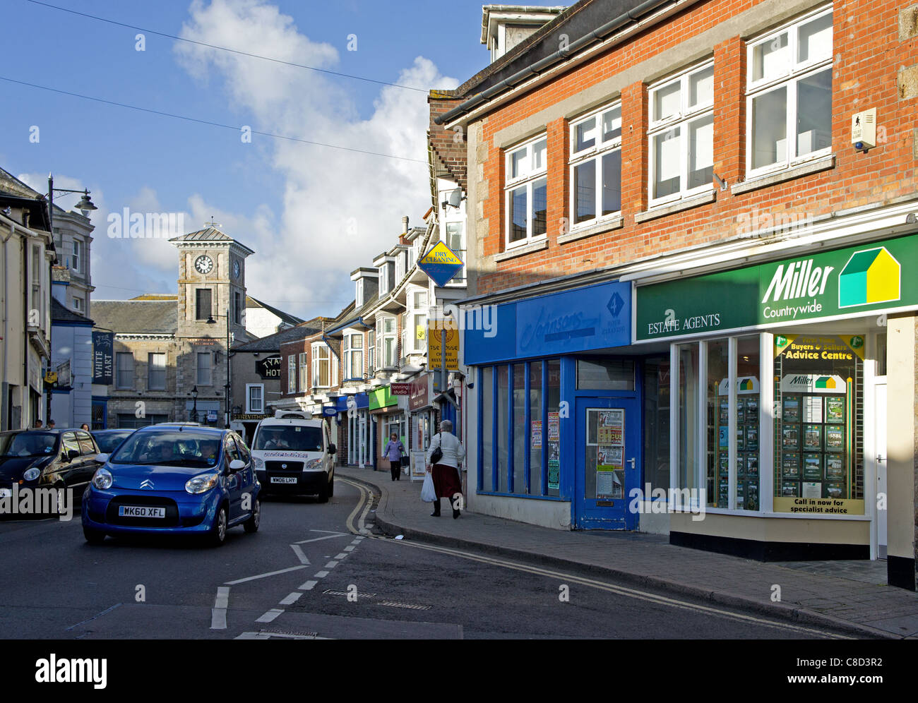 the high street in camborne town centre, cornwall, uk - Stock Image
