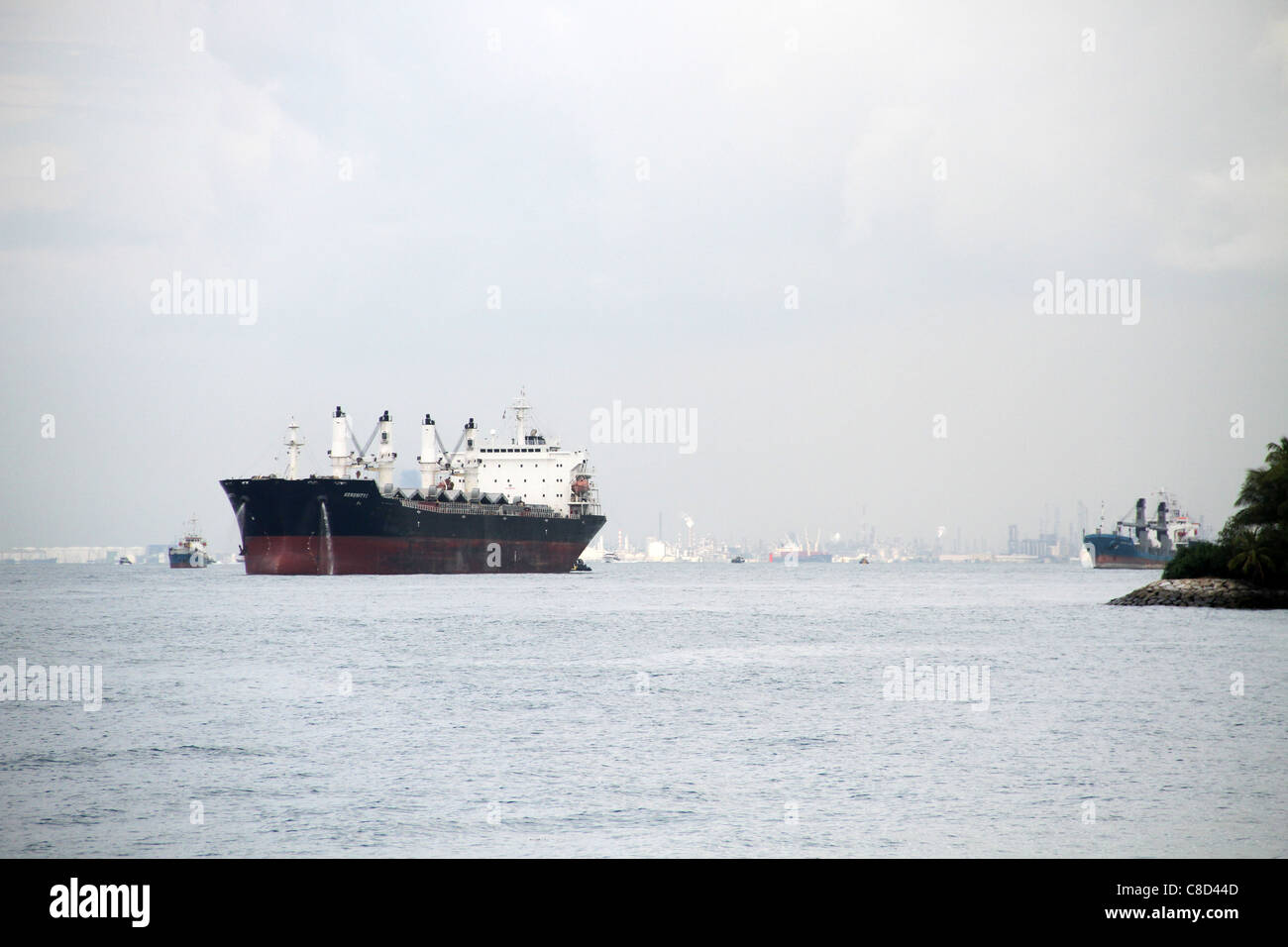 Container ships near the Port of Singapore, South China Sea, Singapore - Stock Image