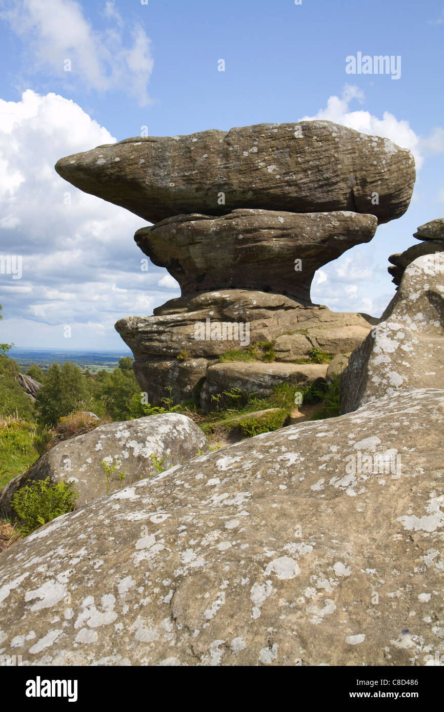 The Druid's Writing Desk, one of many remarkable rock formations found at Brimham Rocks in NIdderdale, Yorkshire - Stock Image