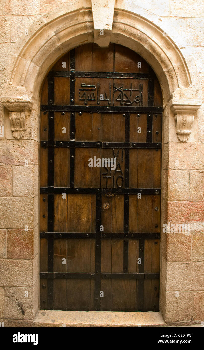 fantastically crafted old door in Jerusalem Stock Photo