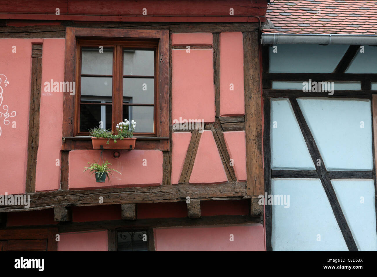 Timber-frame houses in the historic centre of Colmar, France. Stock Photo
