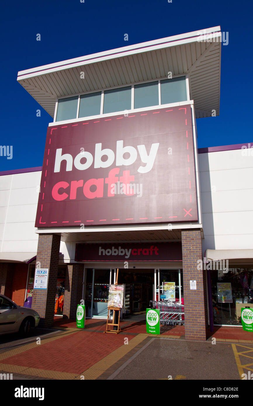 General view of the exterior of a hobby Craft store in Aylesbury - Stock Image