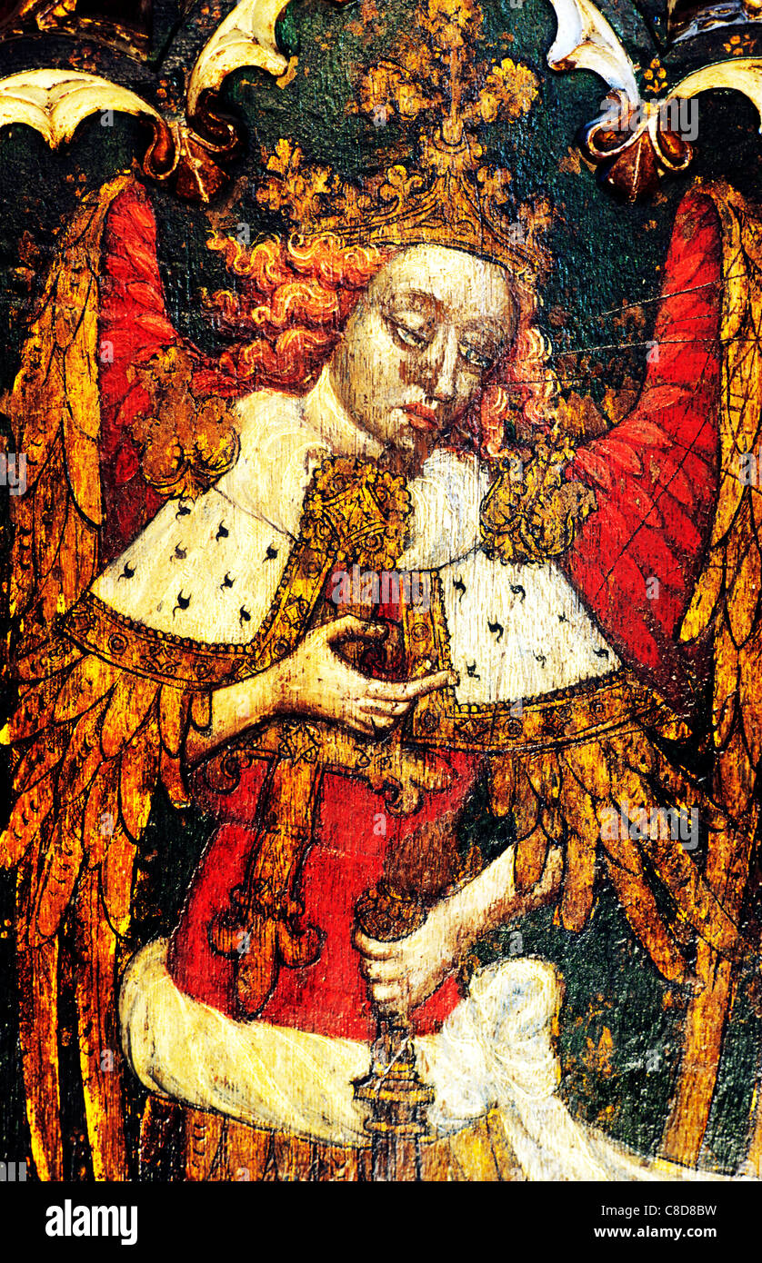 Filby, Norfolk, rood screen. St. Michael the Archangel, one of the Nine Orders of Angels archangels male saint saints - Stock Image