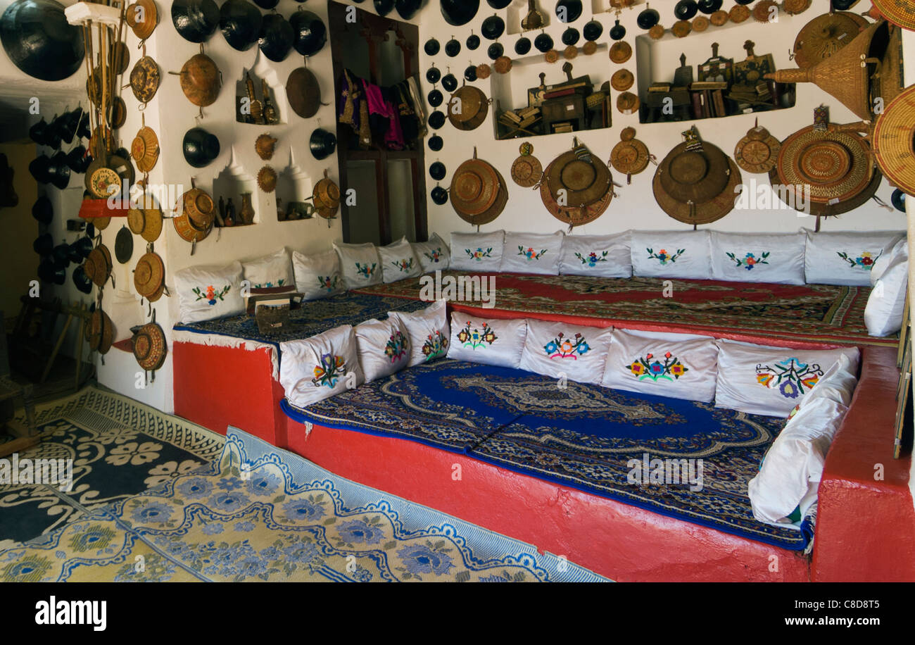 Elk200-4216 Ethiopia, Harar, old town, Harari Museum, traditional house interior - Stock Image