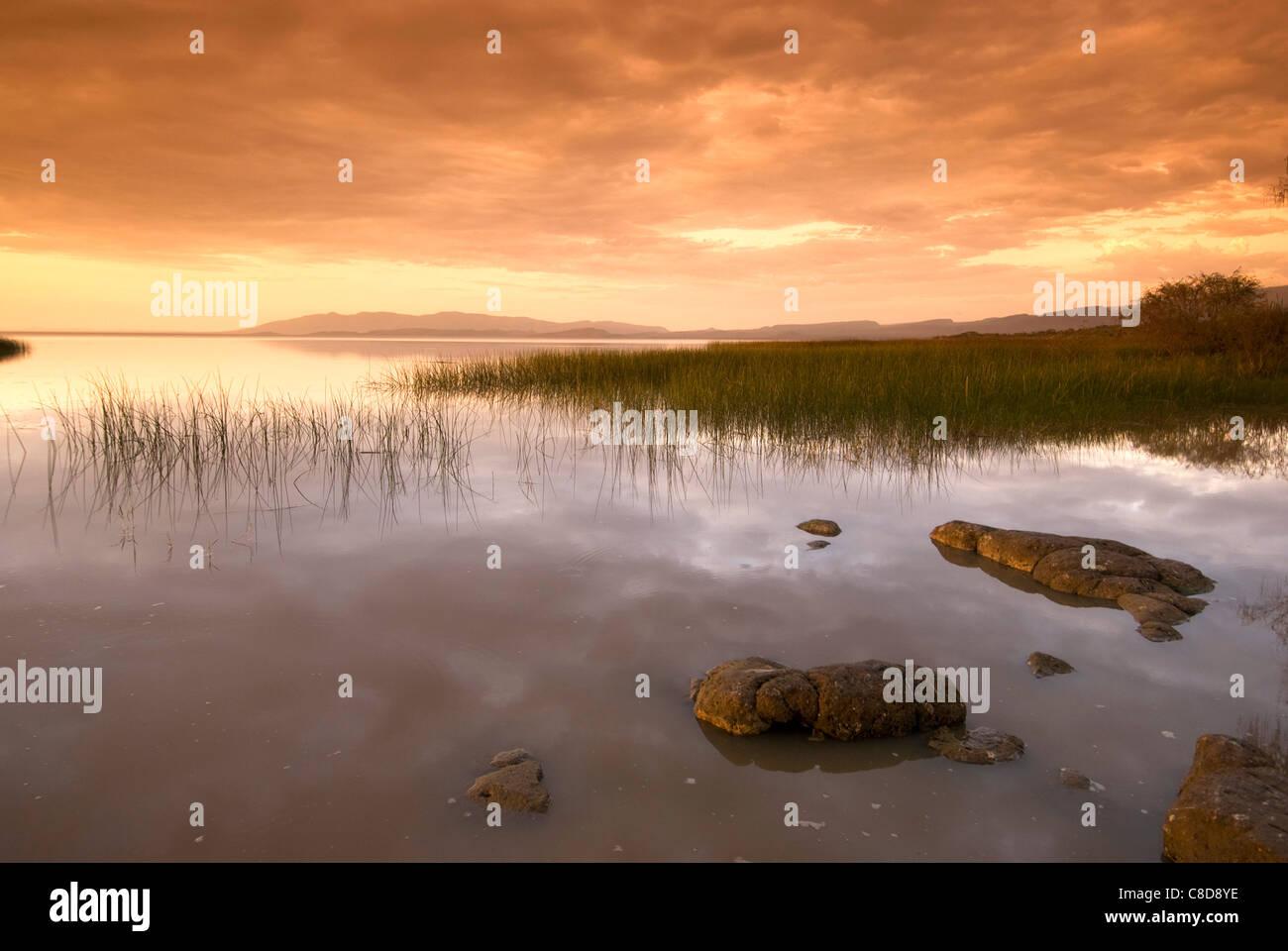 Elk200-5067 Ethiopia, Lake Langano, sunset - Stock Image