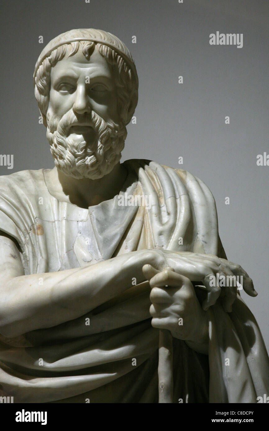 Marble statue of the Philosopher or Homer from Herculaneum in the National Archaeological Museum in Naples, Italy. - Stock Image