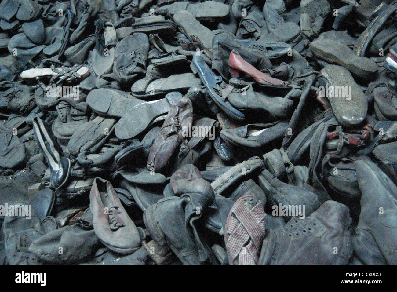 Shoes of the victims seen in the Auschwitz I German Nazi concentration camp in Oswiecim, Poland. - Stock Image