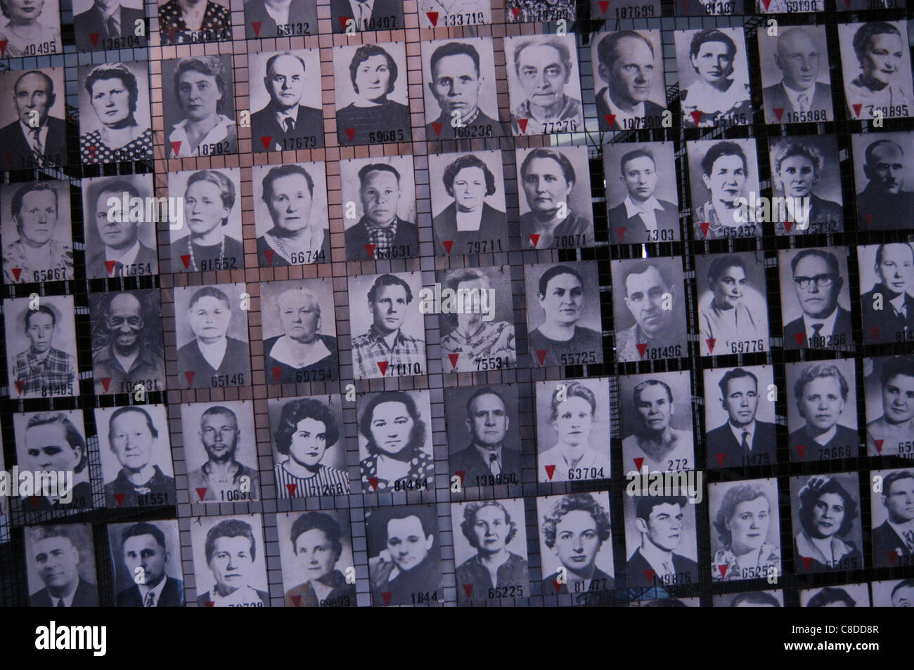 Photographs of the Soviet prisoners in the Auschwitz I German Nazi concentration camp in Oswiecim, Poland. - Stock Image